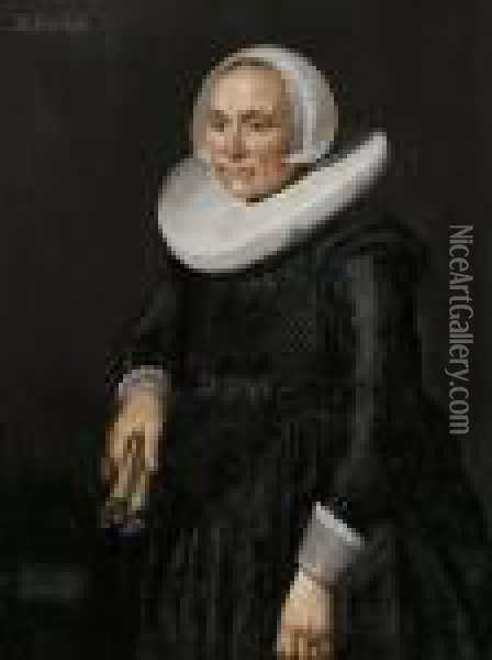 Portrait Of A Woman In A White Ruff Oil Painting - Hendrick Van Vliet