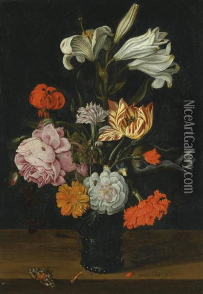 A Still Life With Flowers In A Glass Roemer, On A Ledge With Fallen Petals Oil Painting - Jan Baptist van Fornenburgh