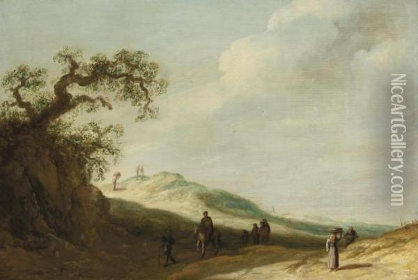 A Landscape With Travellers On A Track Oil Painting - Jan van Goyen