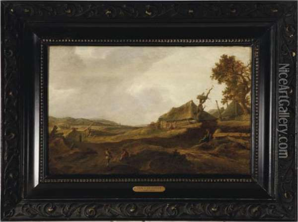 Landscape With Peasants Resting Among The Dunes Oil Painting - Jan van Goyen