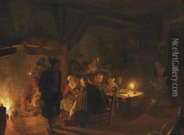 A Family Eating By Candlelight In An Interior Oil Painting - Jan Hendrick van Grootvelt