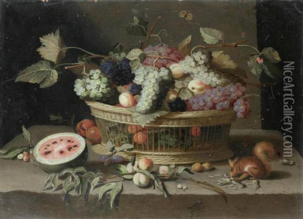A Basket Of Grapes, Plums And  Peaches, With A Melon And A Squirrel Eating Nuts On A Stone Ledge; And A Oil Painting - Jan van Kessel