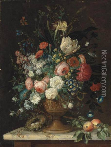 Roses, Tulips, Carnations,  Morning Glories, Irises And Other Flowers In A Relief Vase, A Bird's  Nest With Eggs And Peaches On A Marble Topped Table, With A Peacock  Butterfly, A Brimstone, A Bumble-bee And Other Insects Oil Painting - Jan van Os