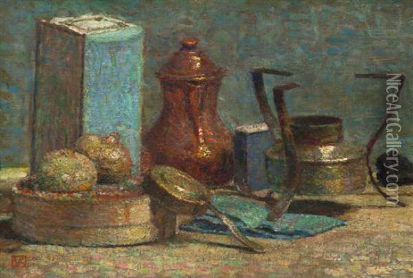 Still Life With Copper Coffee Pot Oil Painting - Theo van Rysselberghe