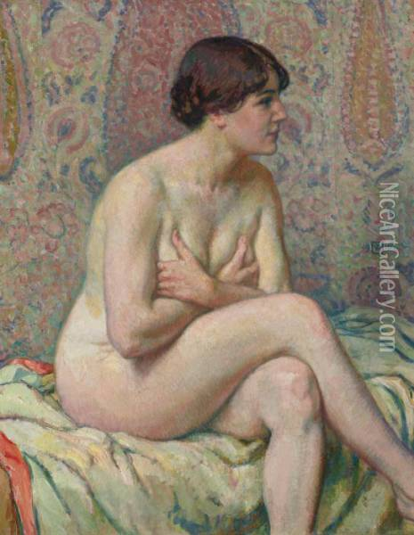 Nu Assis (maude) Oil Painting - Theo van Rysselberghe