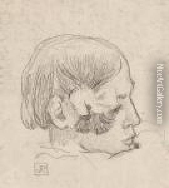Head Of A Young Girl In Profile Oil Painting - Theo van Rysselberghe