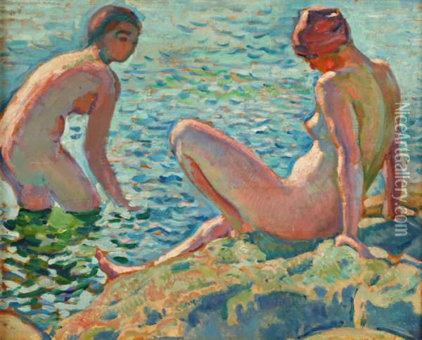 Les Baigneuses Oil Painting - Theo van Rysselberghe