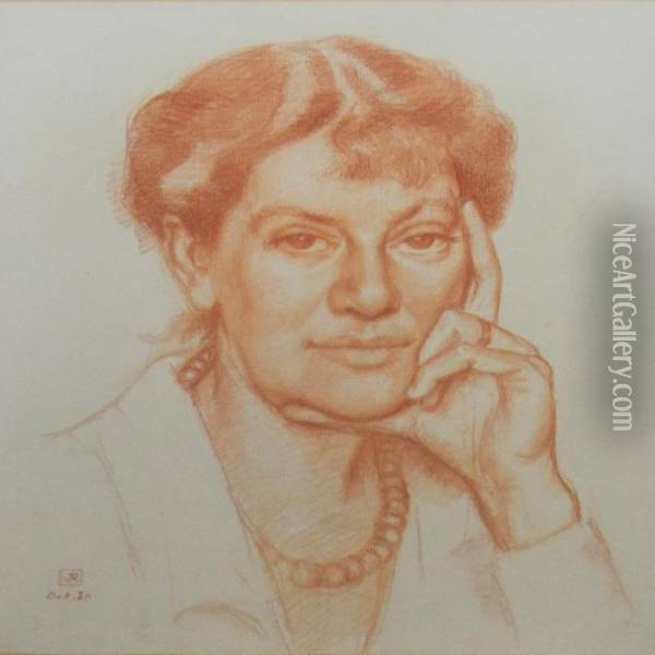 Portrait Of Suzanne Weyher Schlumberger Oil Painting - Theo van Rysselberghe