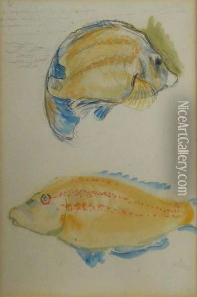 Two Fish Oil Painting - Theo van Rysselberghe