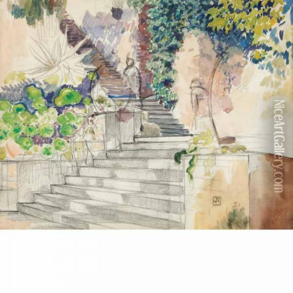 Study Of A Staircase Oil Painting - Theo van Rysselberghe