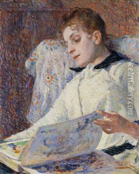Jeune Dame Lisant Oil Painting - Theo van Rysselberghe