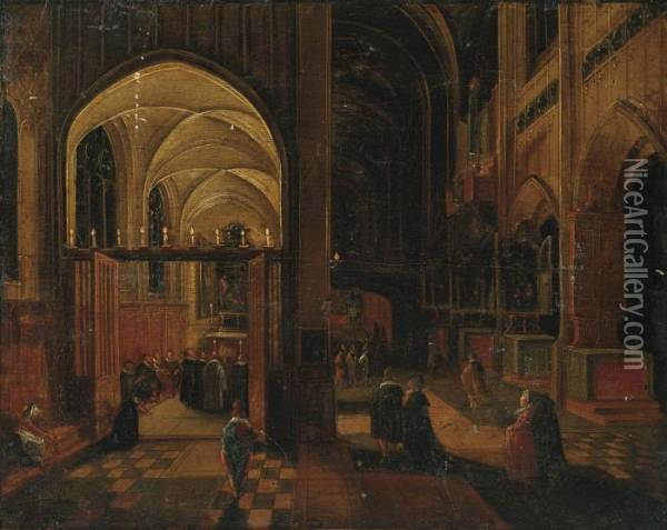 A Gothic Church Interior With Mass Being Celebrated In A Side Chapel Oil Painting - Hendrick van, the Younger Steenwyck
