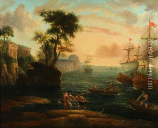 Coastal Scene With Figures Bringing Boat To Shore Oil Painting - Claude-joseph Vernet