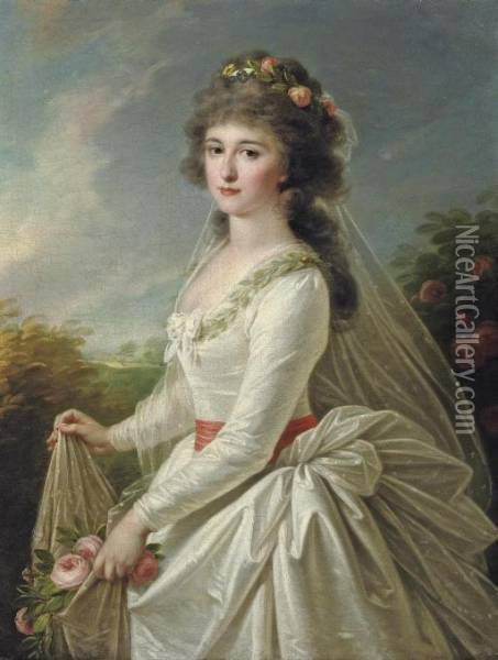 Portrait Of A Young Lady, Three-quarter-length, In A White Dress, Holding Pink Roses Oil Painting - Elisabeth Vigee-Lebrun