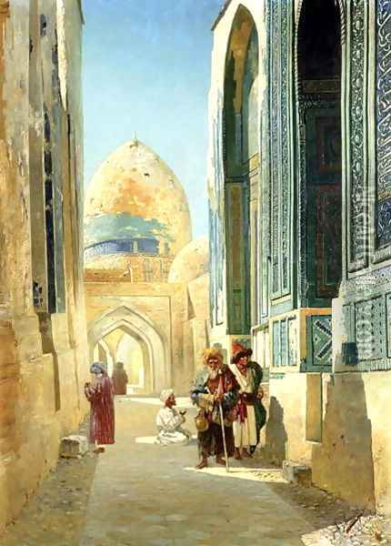 Figures in a Street Before a Mosque 1895 Oil Painting - Richard Karlovich Zommer