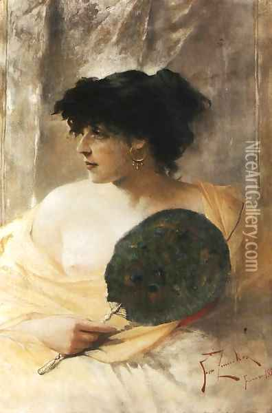 Woman with a Fan Oil Painting - Franciszek Zmurko