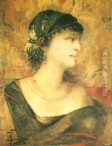 Woman Dressed in Eastern Cloth Oil Painting - Franciszek Zmurko