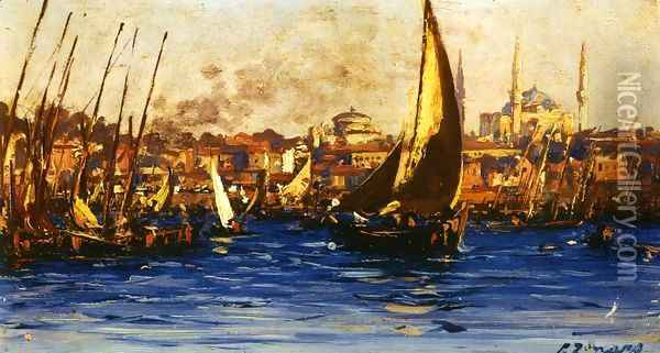 The Port of Istambul Oil Painting - Fausto Zonaro