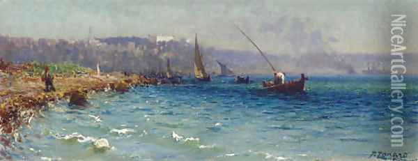 A View of the Bosphorous from the Old Byzantine Walls, Constantinople Oil Painting - Fausto Zonaro
