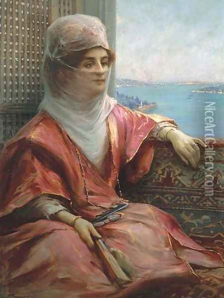 Portrait of a Turkish Lady with the Bosphorus in the Background Oil Painting - Fausto Zonaro