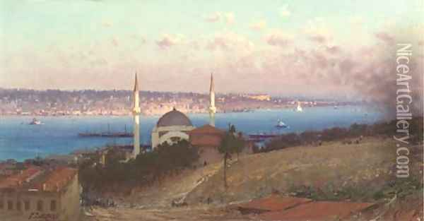 The Dolmabahce Mosque and askutdar as seen from the hills of Gutmutssutyut, Constantinople Oil Painting - Fausto Zonaro