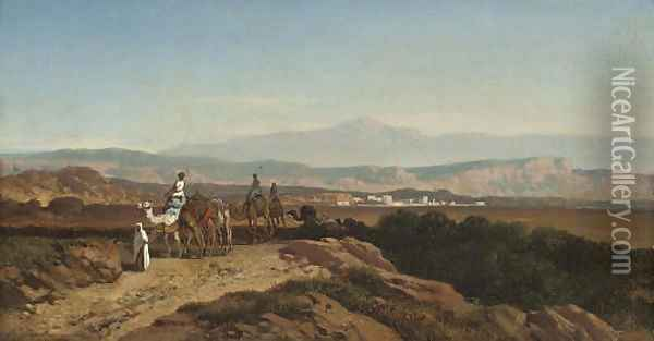 The camel train Oil Painting - August Albert Zimmermann