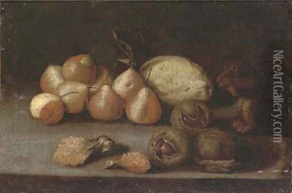 A squirrel, pears, a melon, lychees and chestnuts on a ledge Oil Painting - Juan de Zurbaran