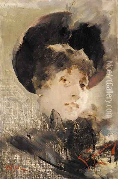 Portrait of a lady Oil Painting - Franciszek Zmurko