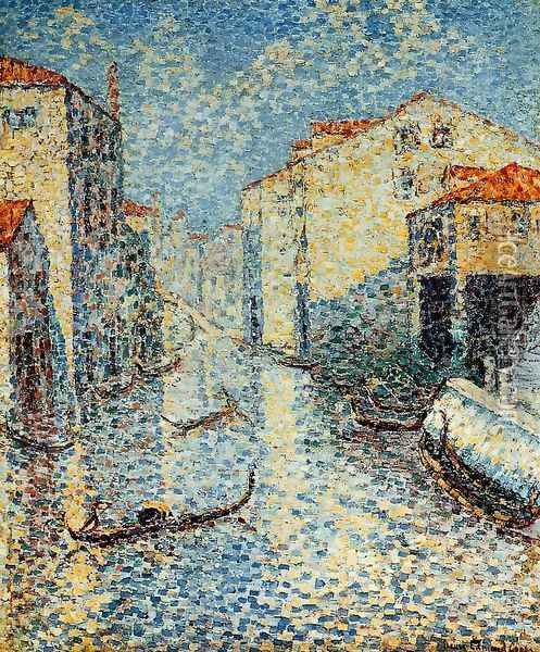 A Venetian Canal Oil Painting - Henri Edmond Cross
