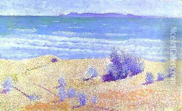 Beach On The Mediterranian Oil Painting - Henri Edmond Cross