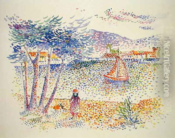 Sailing Boats at the Seaside Oil Painting - Henri Edmond Cross