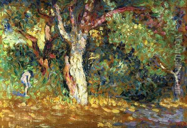 Study for 'In the Woods with Female Nude' Oil Painting - Henri Edmond Cross