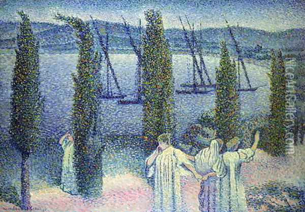 Coastal View with Cypress Trees, 1896 Oil Painting - Henri Edmond Cross
