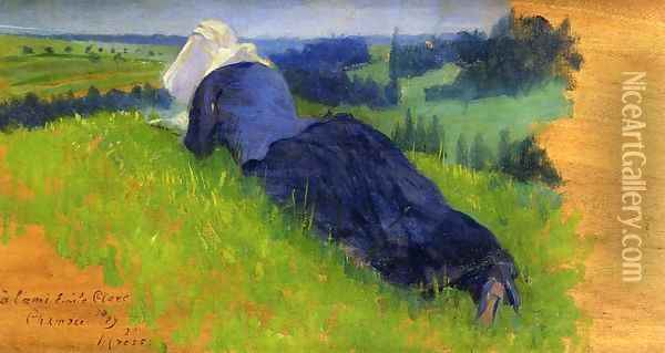 Peasant Woman Stretched out on the Grass Oil Painting - Henri Edmond Cross