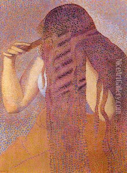 Woman Combing her Hair 1892 Oil Painting - Henri Edmond Cross