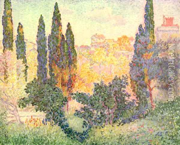 Cypress In Cagnes Oil Painting - Henri Edmond Cross
