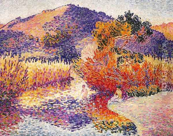 River In Saint Clair Oil Painting - Henri Edmond Cross
