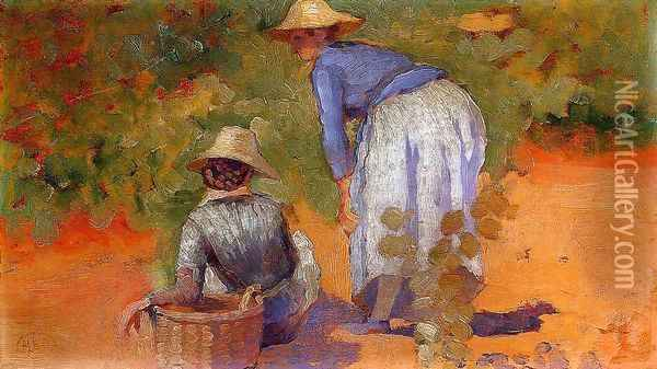 Study for 'The Grape Pickers' Oil Painting - Henri Edmond Cross