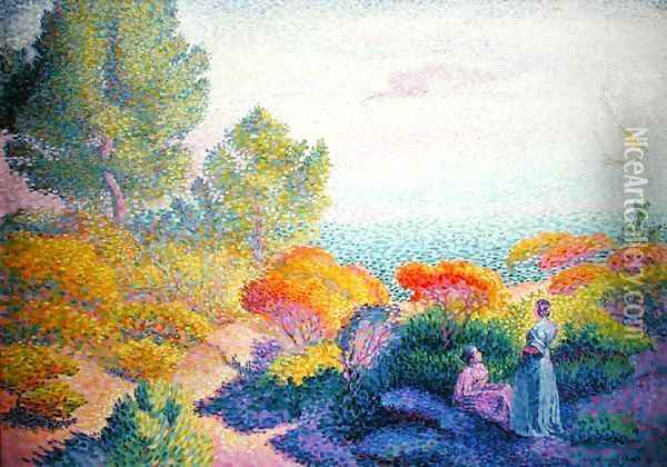 Landscape with Two Women, 1895 Oil Painting - Henri Edmond Cross