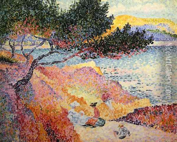 The Bay at Cavaliere Oil Painting - Henri Edmond Cross