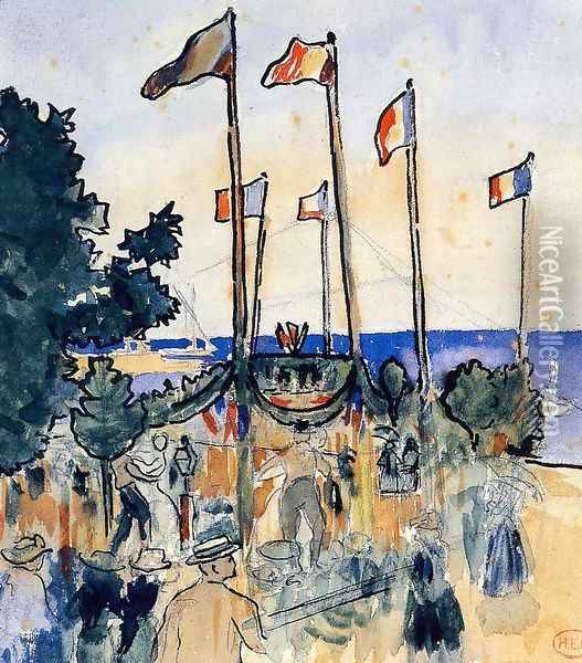 The Fourth of July by the Sea Oil Painting - Henri Edmond Cross
