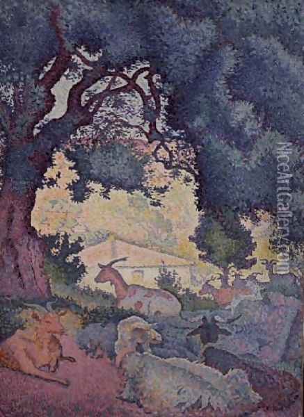 Landscape with Goats, 1895 Oil Painting - Henri Edmond Cross