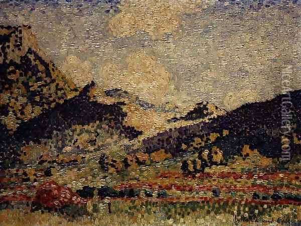 Study for the Small Maures Mountains, 1909 Oil Painting - Henri Edmond Cross