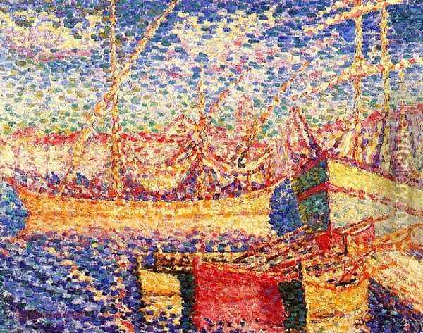 Boats in the Port of St. Tropez Oil Painting - Henri Edmond Cross