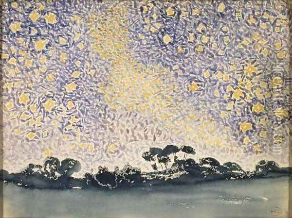 Landscape with Stars Oil Painting - Henri Edmond Cross