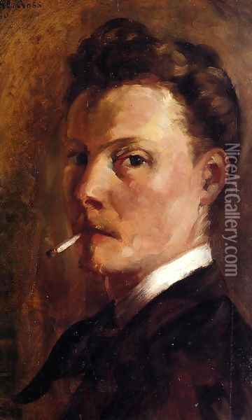 Self Portrait with Cigarette Oil Painting - Henri Edmond Cross