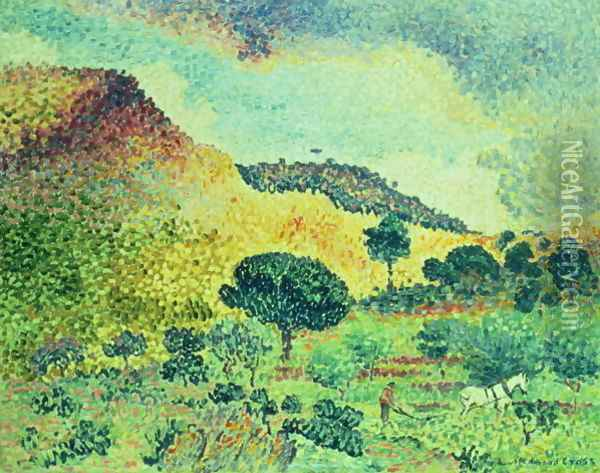The Maures Mountains, 1906-07 Oil Painting - Henri Edmond Cross