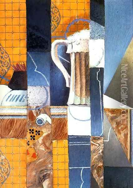 Beer Glass and Cards Oil Painting - Juan Gris