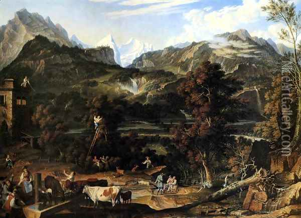 The Upland near Bern 1816 Oil Painting - Joseph Anton Koch