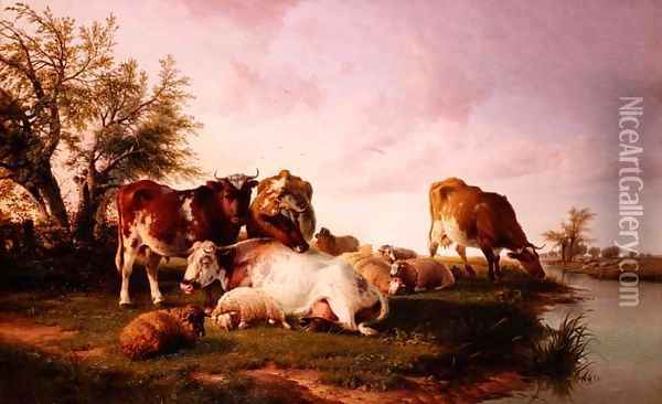 Sheep and Cattle Grazing by a Riverbank Oil Painting - Thomas Sidney Cooper